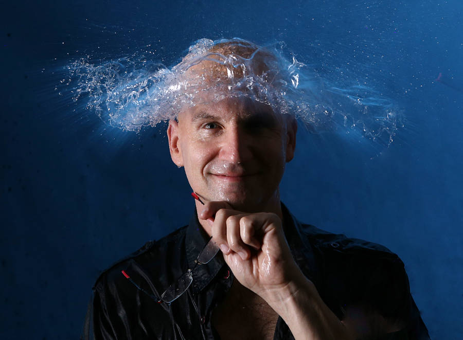 Water hat - possible through high-speed photography and water bomb