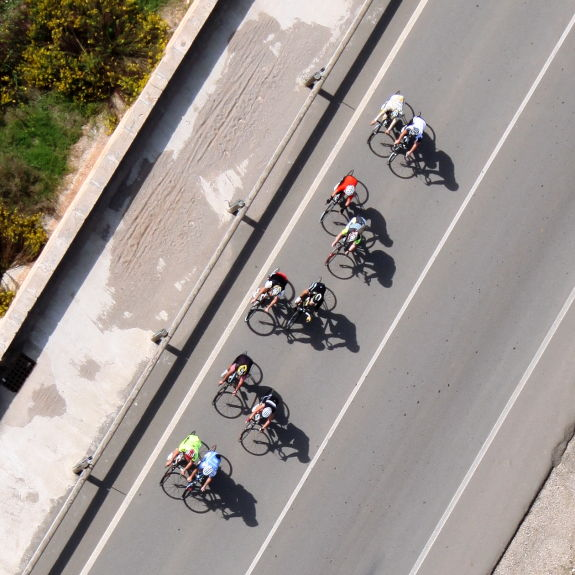 cycle race photographed from a helicopter